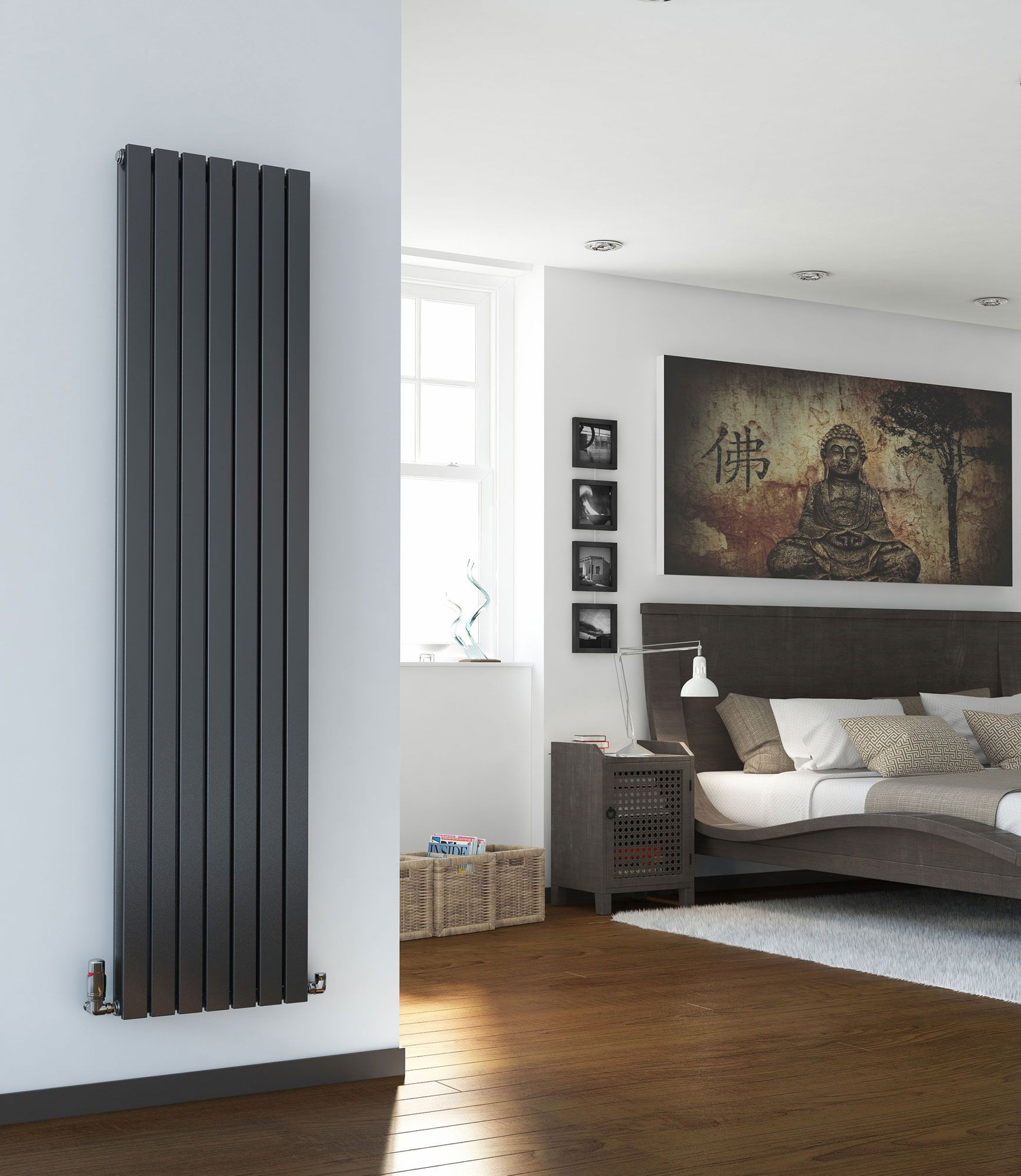 Vertical designer radiator tall flat panel column - Designer vertical radiators for kitchens ...
