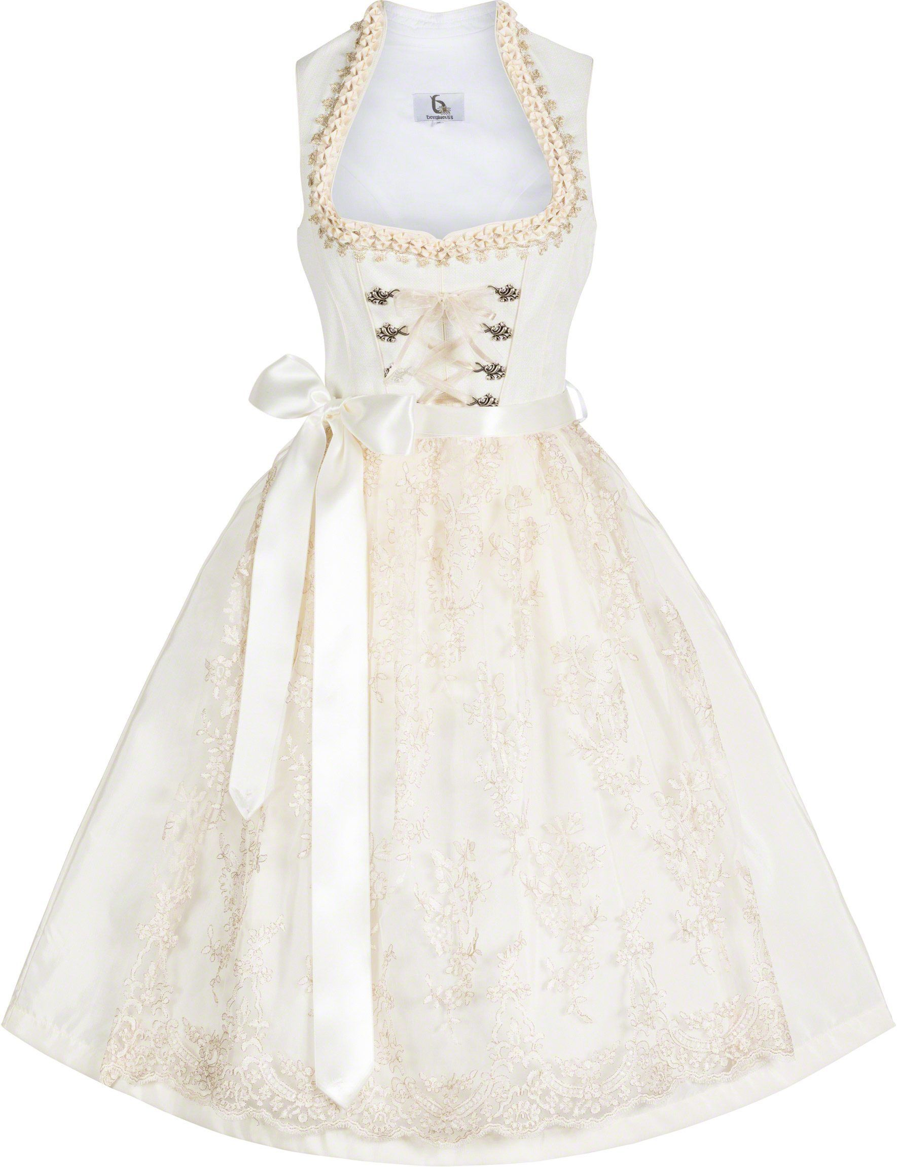 9715ec30c5ccee Hochzeitsdirndl, modern & elegant Brautdirndl in Creme  Sweetheart-Ausschnitt mondäner Stehkragen goldfarbene Akzente  Froschgoscherl und goldfarbene ...
