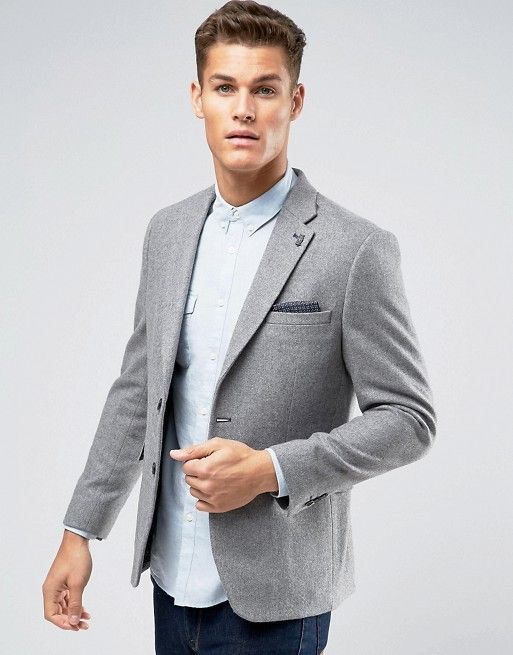 Burton Menswear Light Grey Wool Blend Slim Blazer  8ca213afca90