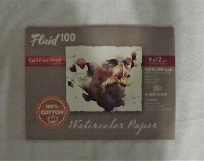 Fluid 100 Cold Press Finish Watercolor Paper 9 X 12 140 Lb 300