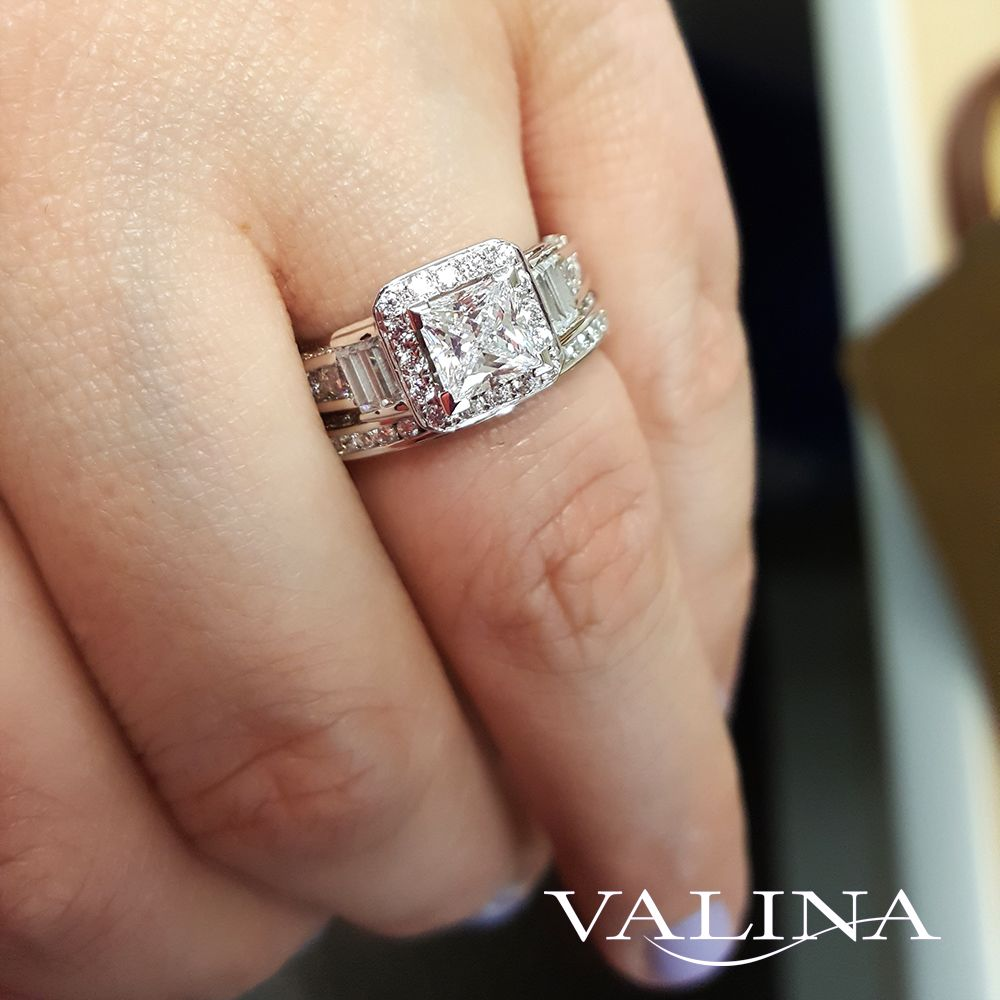 Valina Bridals Diamond Halo Engagement Ring Mounting With Baguette And Round Side S Bridal Engagement Rings Rectangle Engagement Rings Elegant Engagement Rings