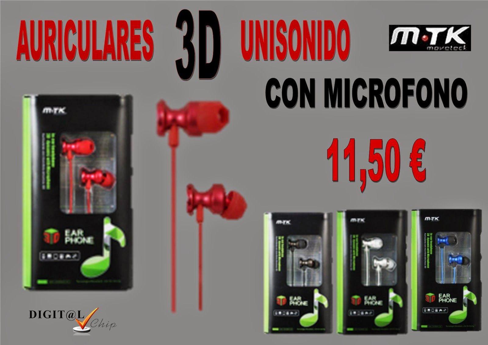 Digit@L Chip - Informática - Sonido: MTK - AURICULARES 3D  DE ALUMINIO CON MICROFONO