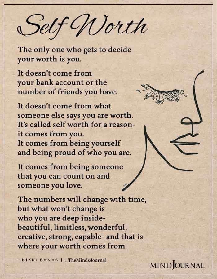 The Only One Who Gets To Decide Your Worth Is You