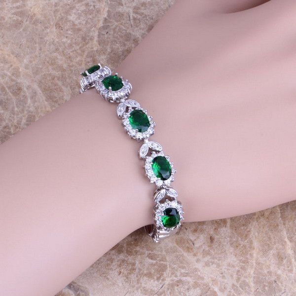 15 CT Sterling Silver Green Topaz Bracelet