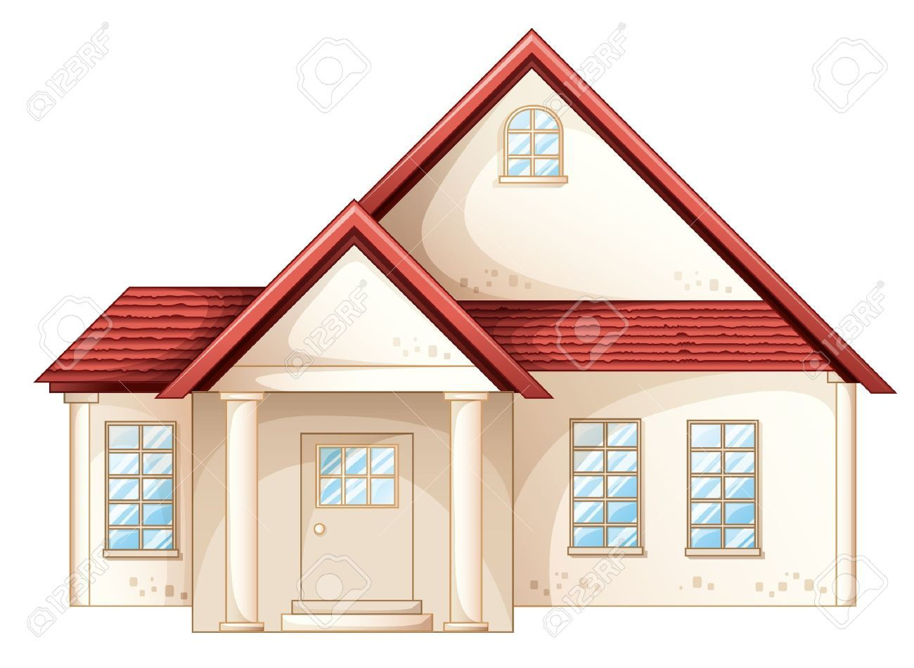 Illustration A Simple House Front View Simple House House Image House