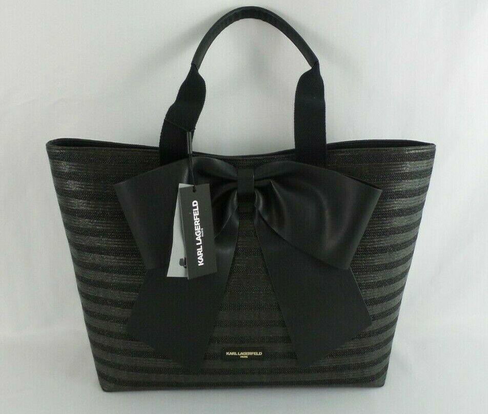 0073ec304b69a Karl Lagerfeld Paris Kris Straw Black Tote Bag With Bow LH8AL278   KarlLagerfeld  Tote