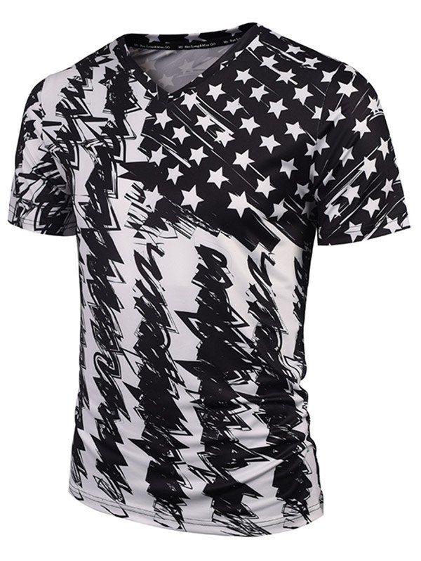 3D Star V-Neck T-Shirt