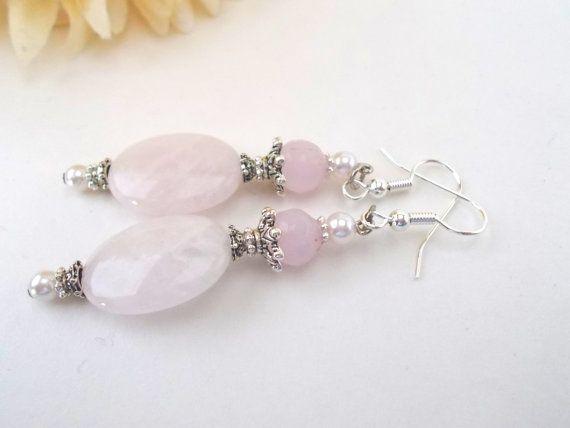 Rose Quartz Earrings, Pink Quartz Earrings, Dark Silver Earrings, Pale Pink Earrings, Bridal Earrings, Wedding Jewelry, Pale Pink Earrings