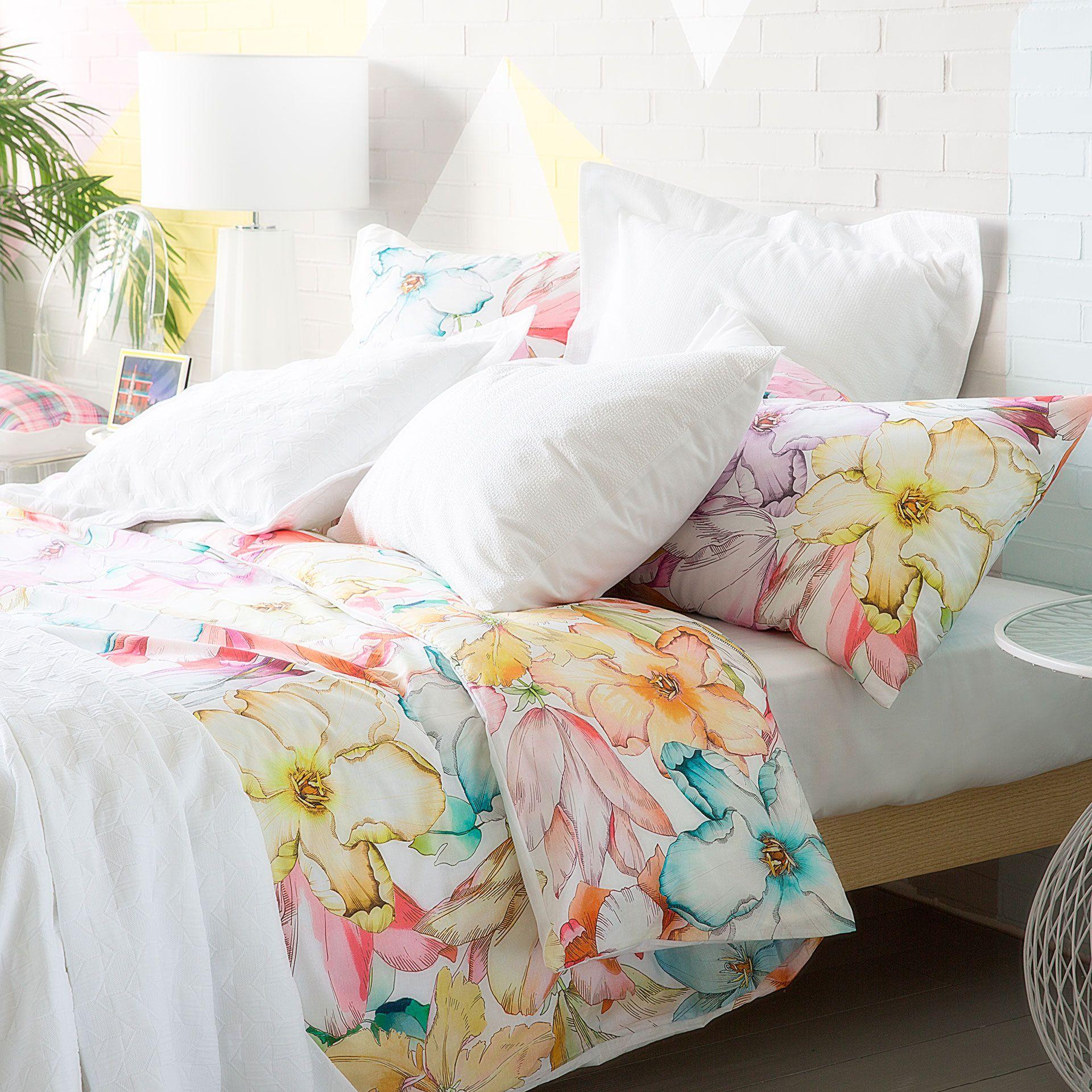 Bettwasche Mit Aquarellblumen