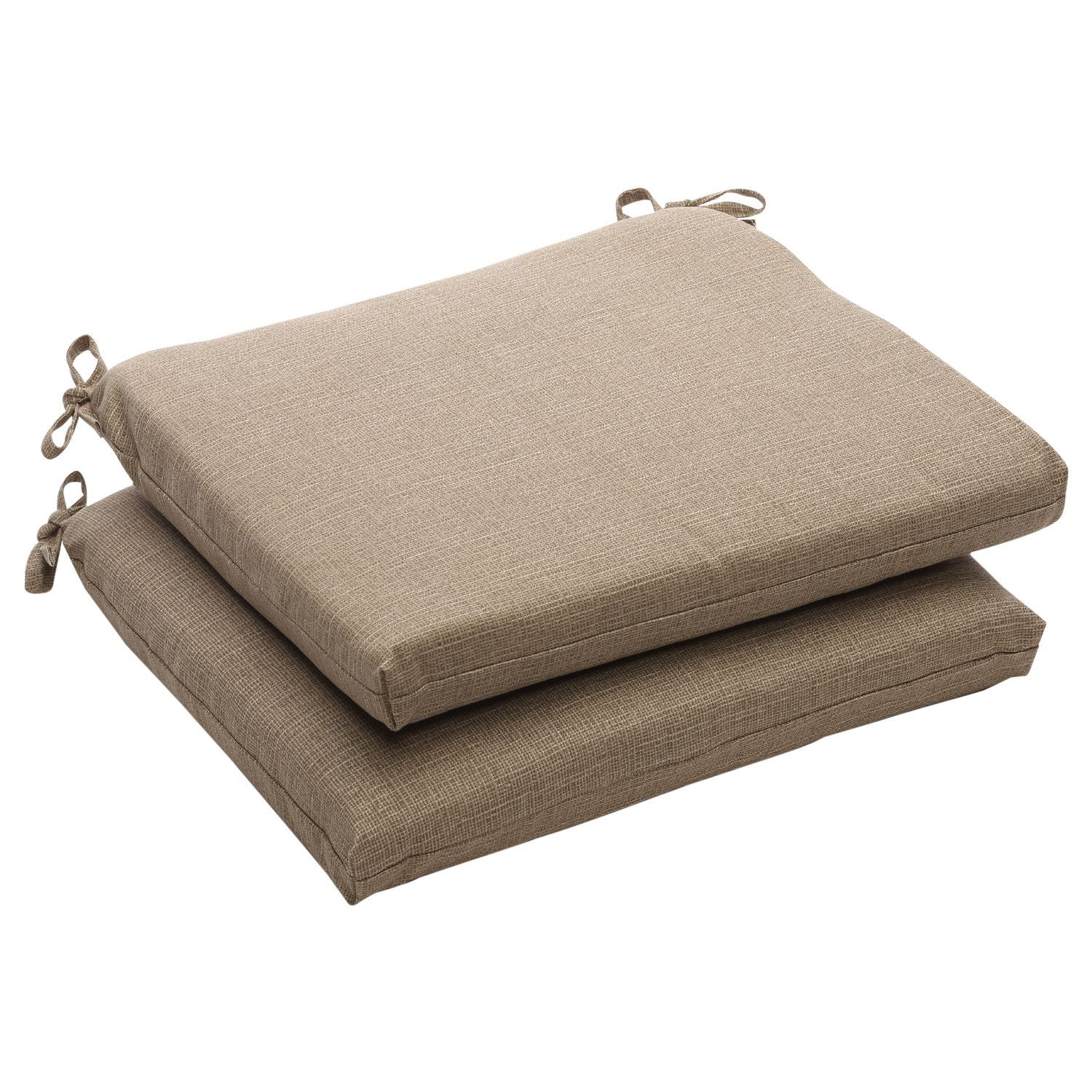 Pillow Perfect Outdoor Taupe Textured Solid Square Seat