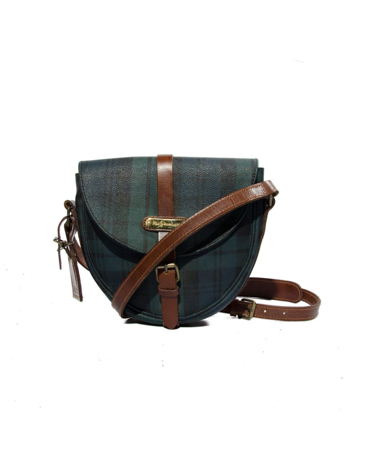80 s Vintage Ralph Lauren Blackwatch Plaid Saddle Bag Purse with Brown  Leather Trim Women s Handbag.  85.00 aa256016359b0