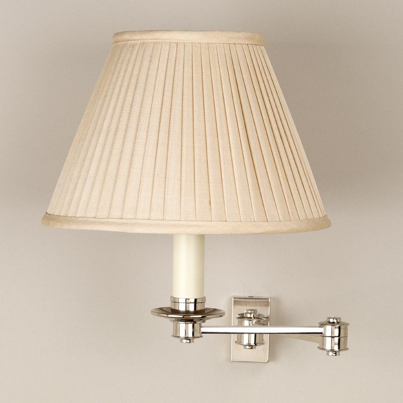 Nickel Shown With 7 Empire Slubby Beige Knife Pleated Silk Shade Lampshade Sold Separately With Images Swing Arm Wall Light