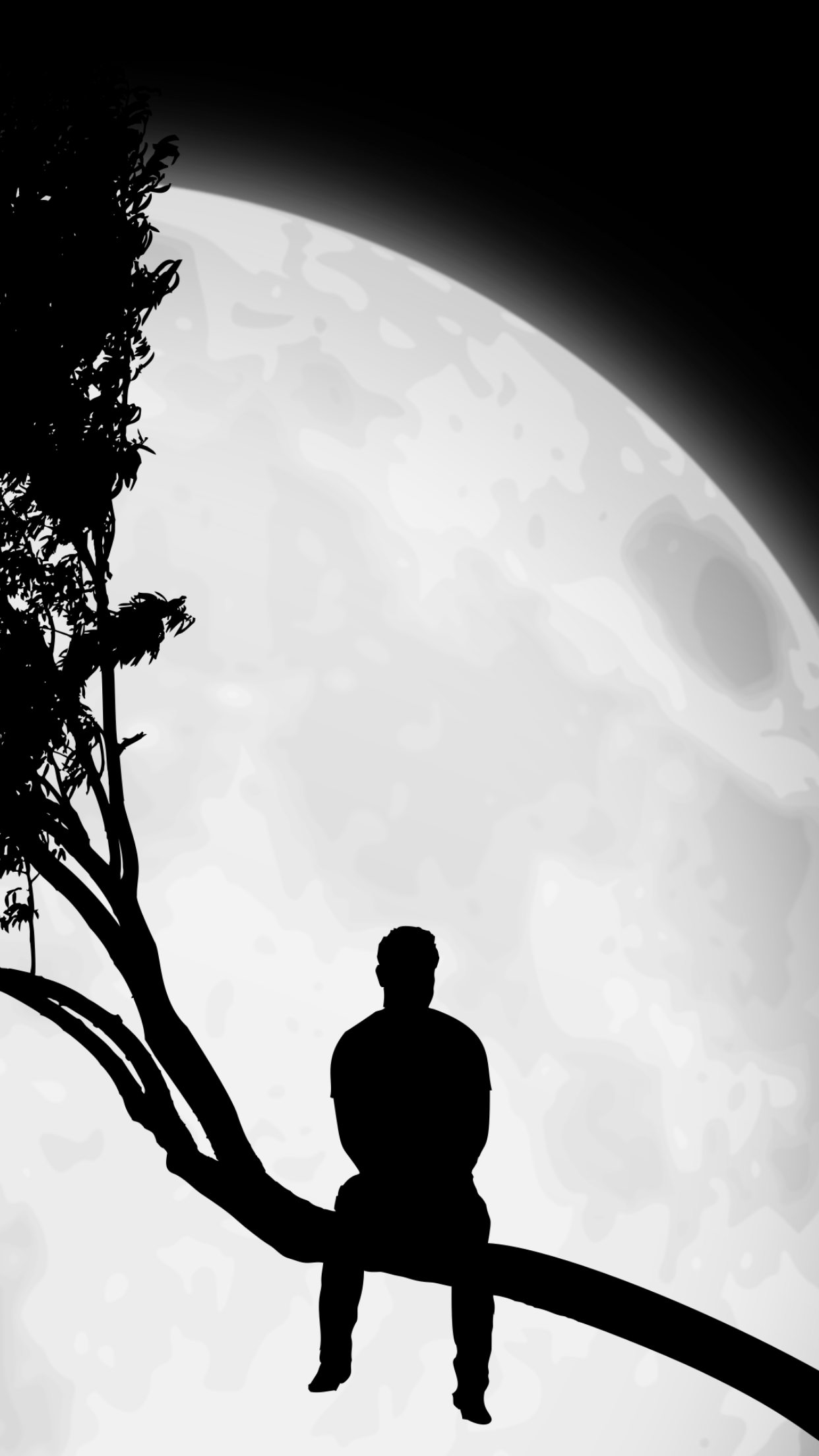 Alone with moon alone boy wallpaper boys wallpaper iphone wallpaper alone life