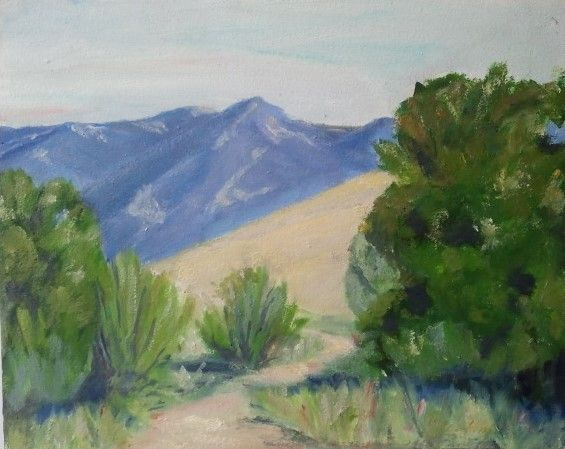 """The view just outside my good friend's backyard - on the Wilcox property in Santa Barbara. We are fortunate to have places like this held in conservation. (8x10"""" oil on board)"""