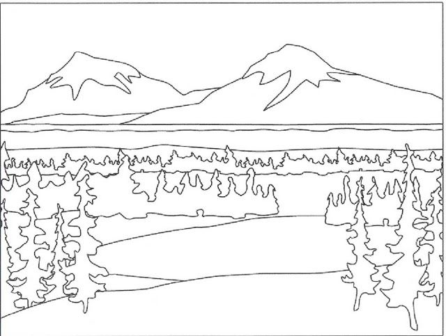 Coloring Pages Nature. Landscape, forest, mountains, sea, island | 483x640