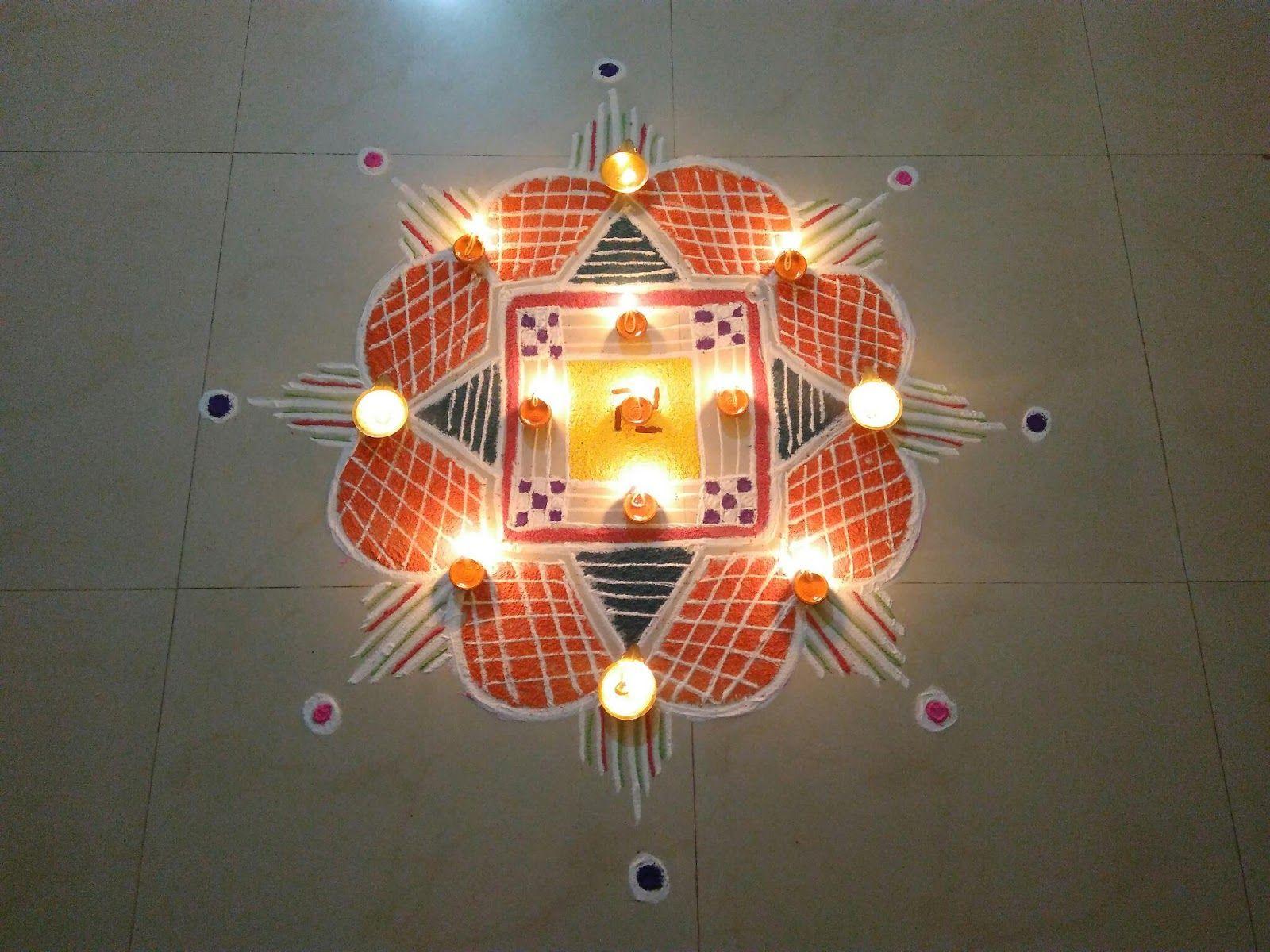 Karthigai Deepam Kolam!!! A colourful Nallu Moolai Kolam, for ... for Karthigai Deepam Kolam  173lyp