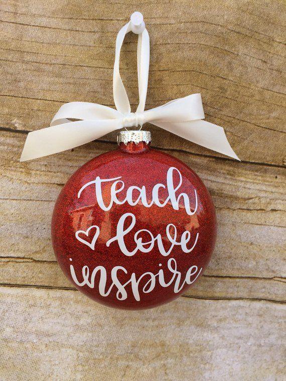 Teach love inspire ornament, Teacher ornament, Teacher Christmas gift SET OF 5