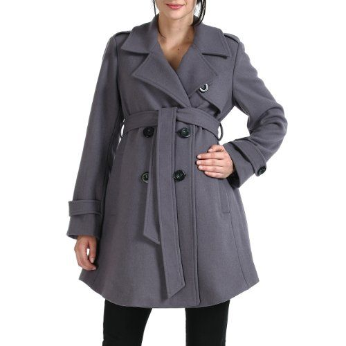 9092fa4dbf608 Momo Maternity Women's Wool Blend 'Isabella' Belted Trench Coat - Gray XL  Momo Maternity