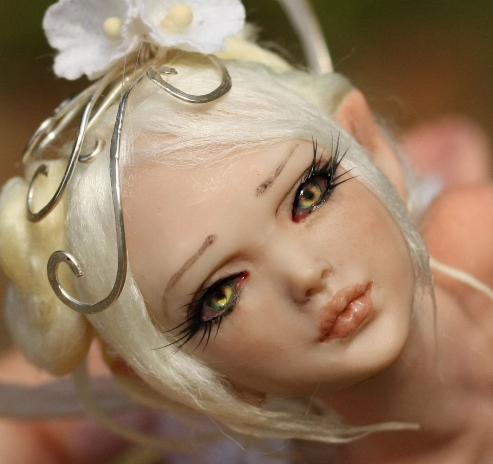 1//6 Female BJD Head Carving Sculpt Long Brown Hair for Ball Jointed Dolls