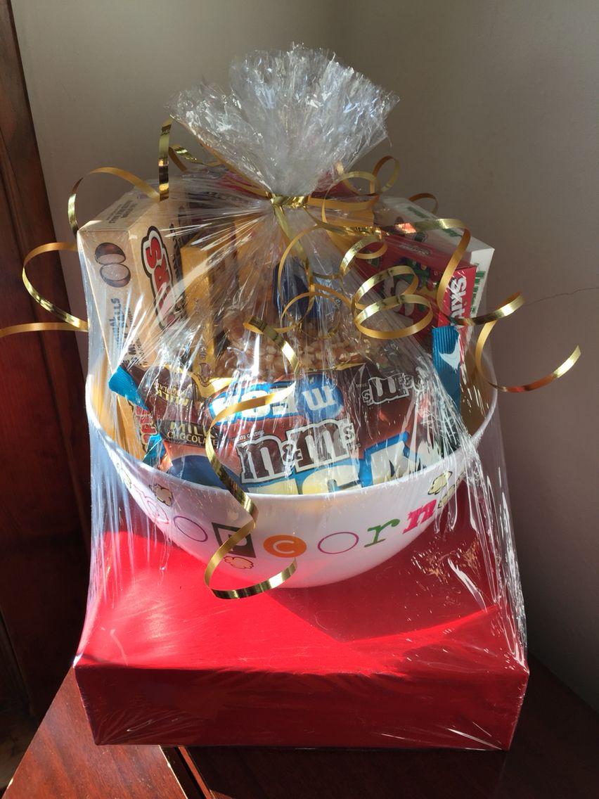 Movie theme bridal shower gift basket movie trivia game wrapped movie theme bridal shower gift basket movie trivia game wrapped in red paper negle Images