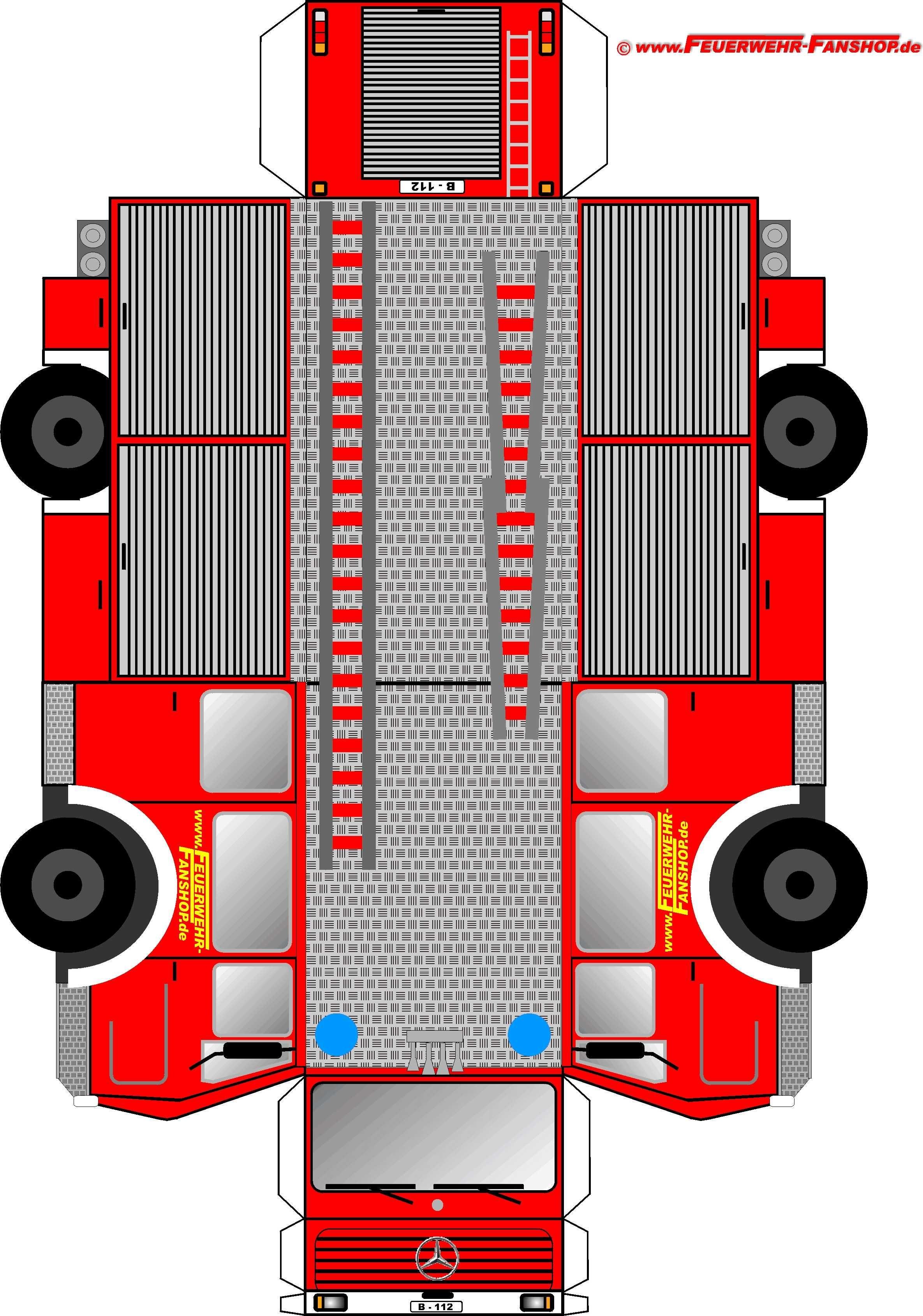Feuerwehrauto basteln | papír | Pinterest | Feuerwehrauto basteln ...