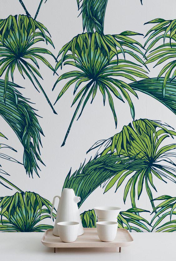 Palmiers Tropicaux De Motif Papier Peint Papier Peint Amovible Exotique Feuilles De Papier