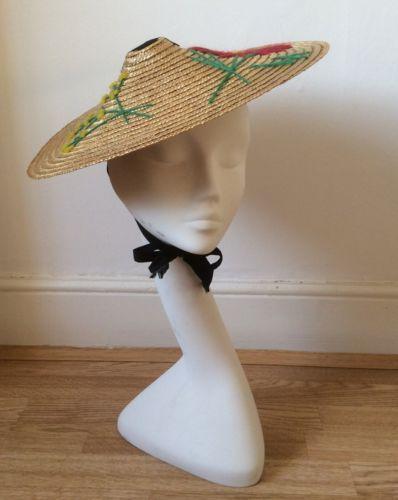 Vintage 1950s Summer Straw Hat Embroidered Flowers Wide Brim 50s