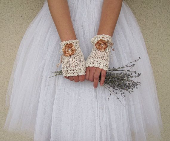 MAYA Hand Knitted Fingerless Bridal Gloves in ivory antique cream and flowers