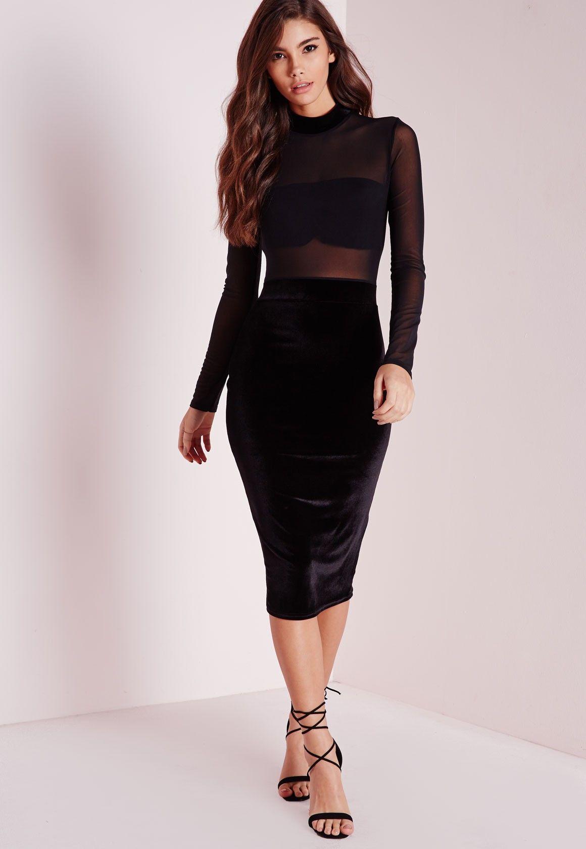 Missguided Long Sleeve Mesh Top Velvet Bottom Midi Dress Black Long Sleeve Mesh Top Black Midi Dress Velvet Midi Dress [ 1680 x 1160 Pixel ]