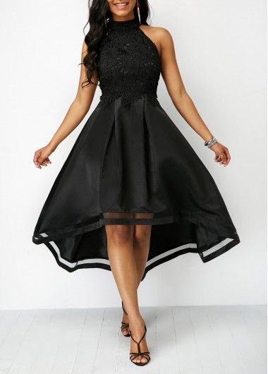 600deda1b2c80 Lace Panel Sleeveless Black High Low Dress on sale only US 33.60 now