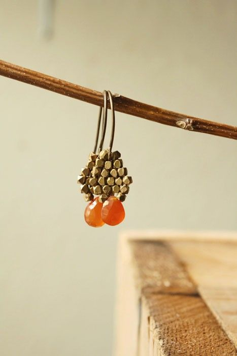 Woven Brass Bead Carnelian Briolette Earrings, MireilleLagow, $40