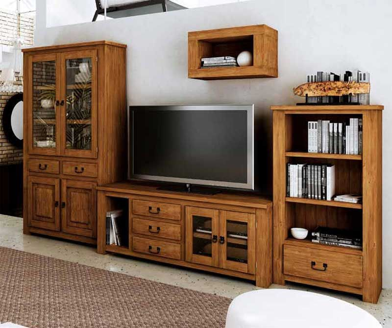 Modular para tv r stico con tres muebles al nacak eyler for Muebles de salon rusticos