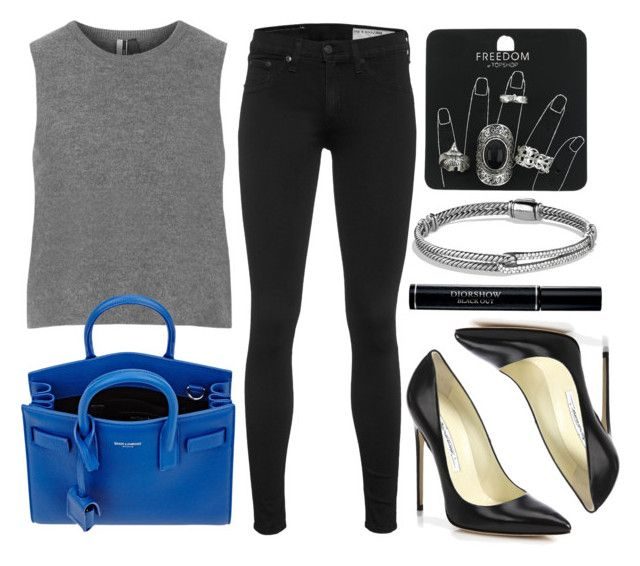 """""""Style #9199"""" by vany-alvarado ❤ liked on Polyvore featuring rag & bone, Topshop, Brian Atwood, Yves Saint Laurent, David Yurman and Christian Dior"""