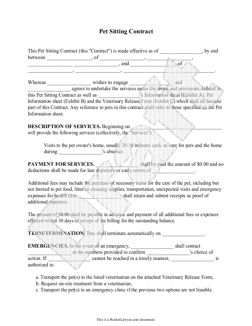 Sample Pet Sitting Contract Form Template