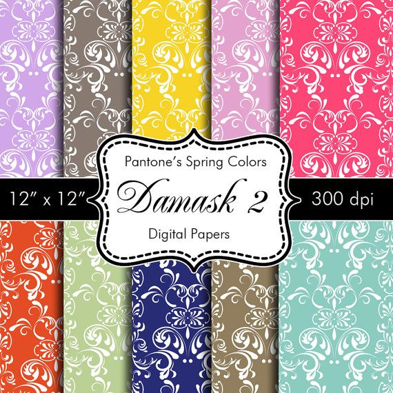 Pantones Spring Colors Damask 2 Digital Papers for by HeadsUpGirls,