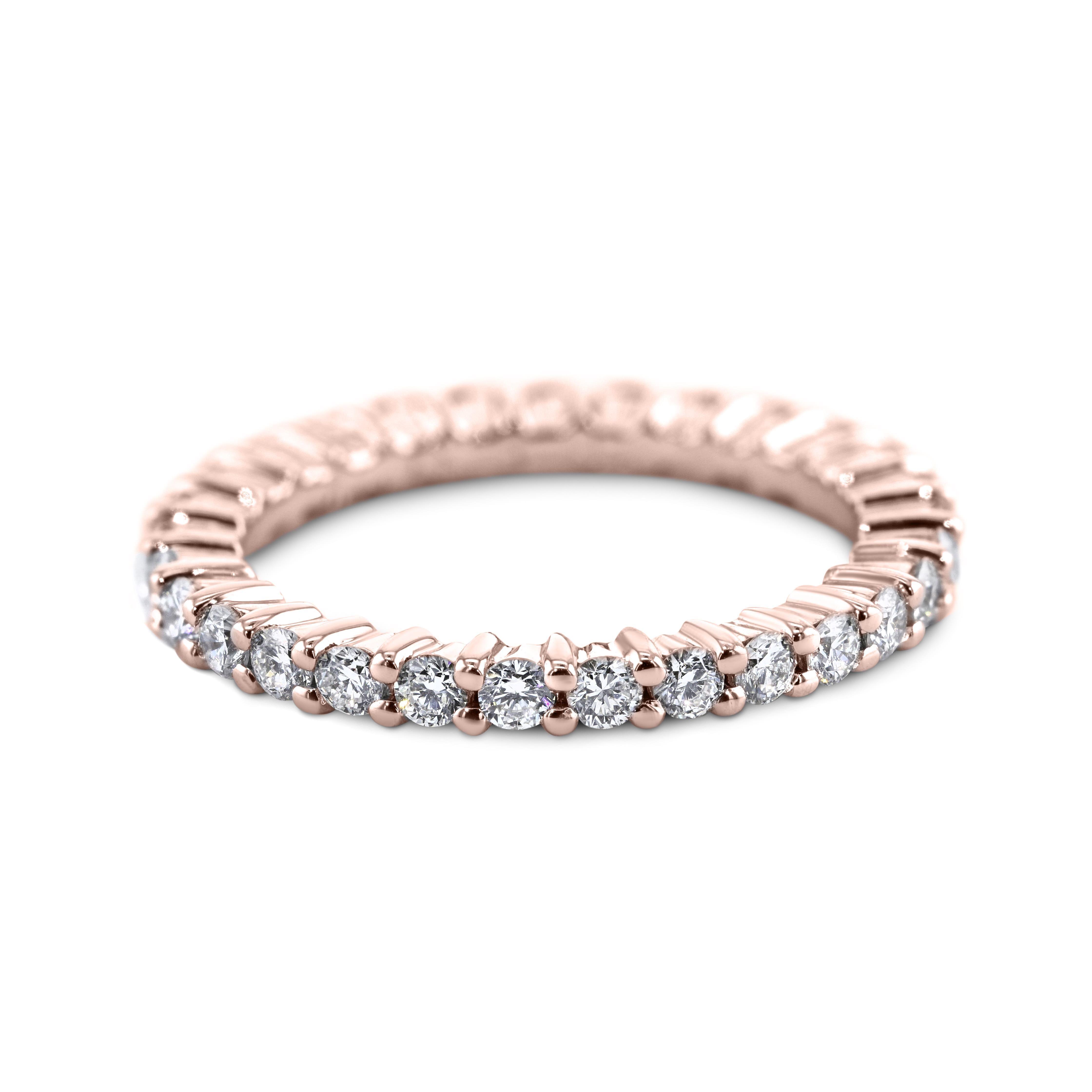 0.87 Carat Diamond Wedding Band 18K Rose Gold Eternity