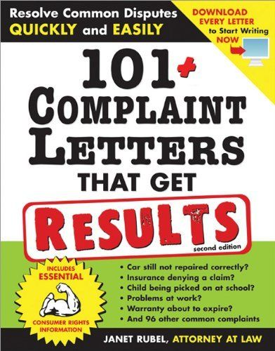 Complaint Letters To Companies Glamorous 101 Complaint Letters That Get Results 2E Resolve Common Disputes .