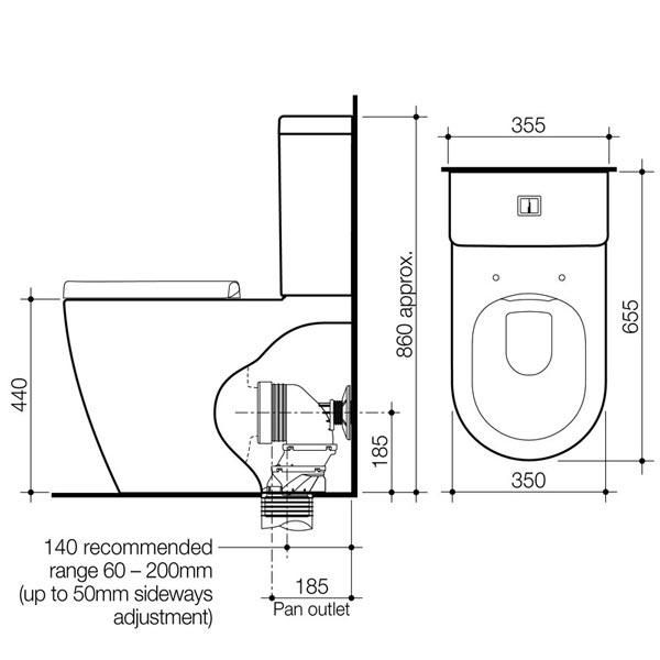 Caroma Urbane Cleanflush Wall Faced Toilet Suite Banos Inodoro Medidas De