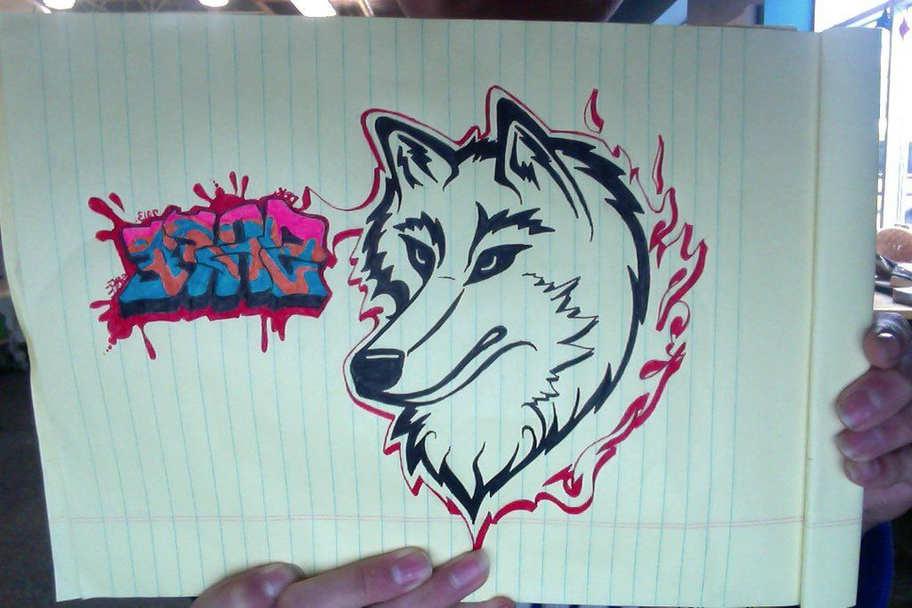 Картинки нарисованного волка граффити