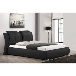 Sunset Platform Black Leather Bed