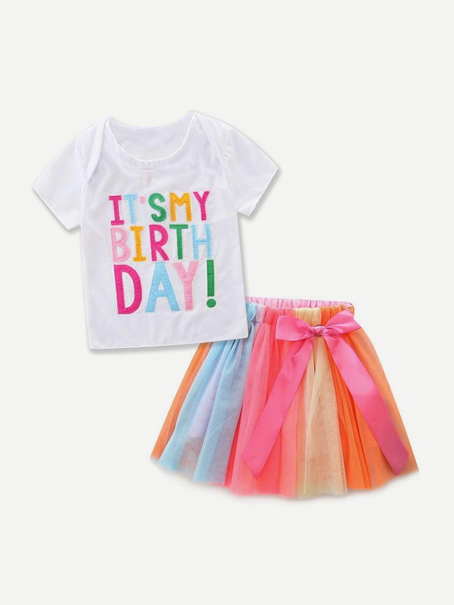 Camiseta de niñas con estampado de letras con falda vistosa-Spanish  SheIn(Sheinside) af2d06fd4209c