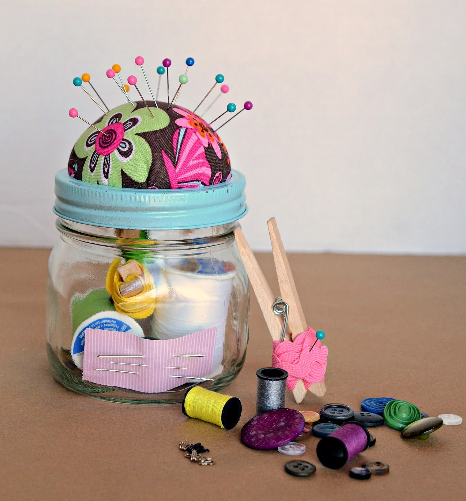 Diy sewing kit gift in a jar jar crafts and gift diy sewing kit gift in a jar negle Choice Image