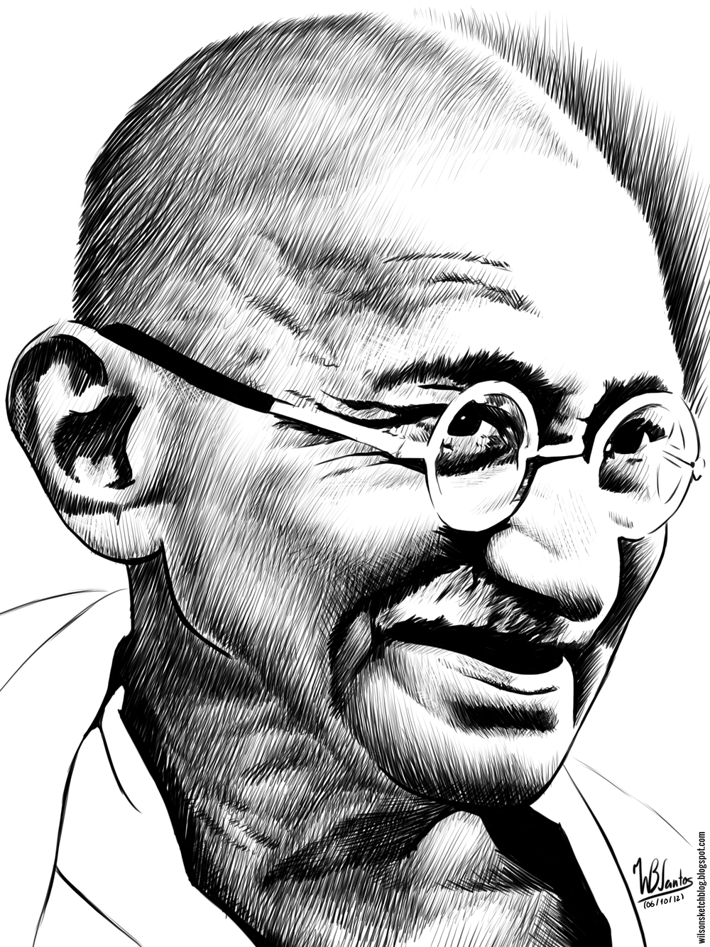 Mahatma Gandhi Pencil Drawing Pics Black And White