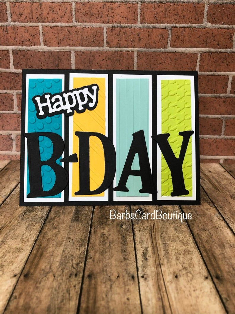 Handmade Birthday Card, Multi-Colored Embossed Car