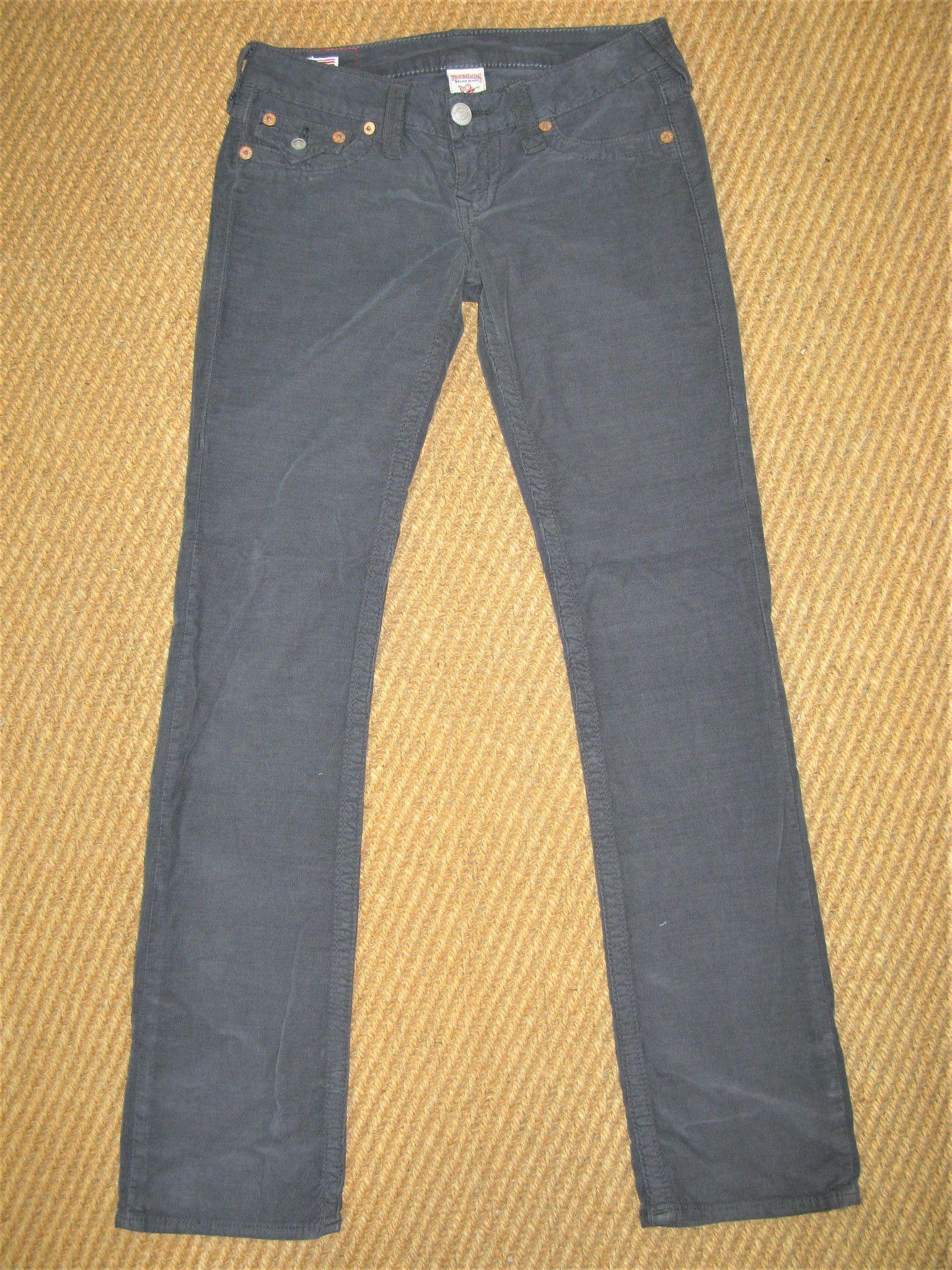 True Religion Billy Micro Cord Slim Straight Lowrise Jeans 27 NWOT