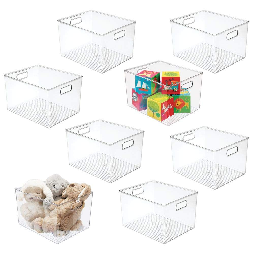 Mdesign Deep Plastic Home Storage Organizer Bin For Cube Furniture Shelving In Office Entryway Cl Toy Storage Organization Home Office Storage Cube Furniture