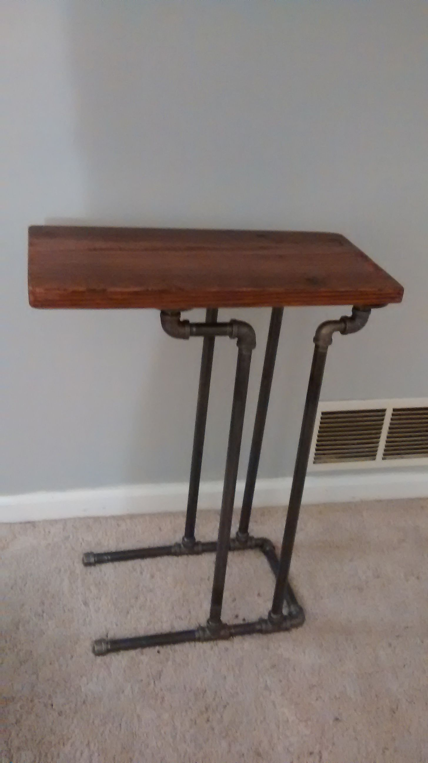 Barn Wood & Pipe End Table / TV Tray: Plained, Cut, Sanded