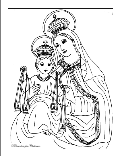 Free coloring page for the Feast of Our Lady of Mt. Carmel