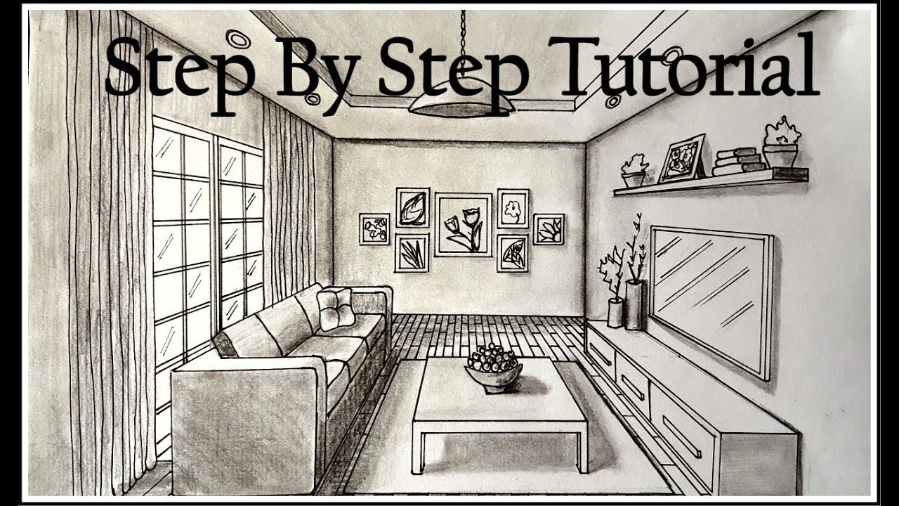 How To Draw A Living Room In One Point Perspective Step By Step