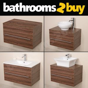 Luxury Walnut Wall Hung Bathroom Funriture Vanity Unit U0026 Countertop Basin  Sink   600mm All
